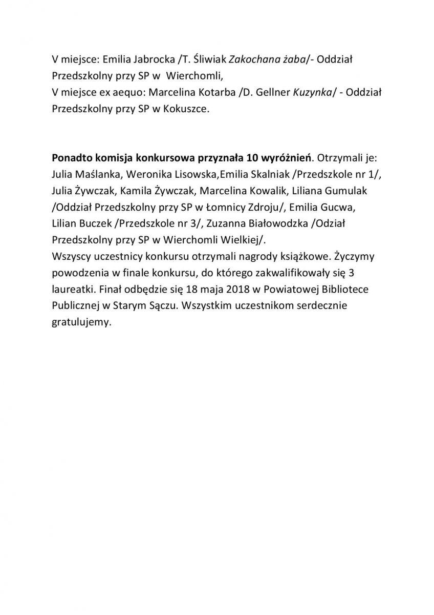 Gminny Etap Powiatowego Konkursu Recytatorskiego