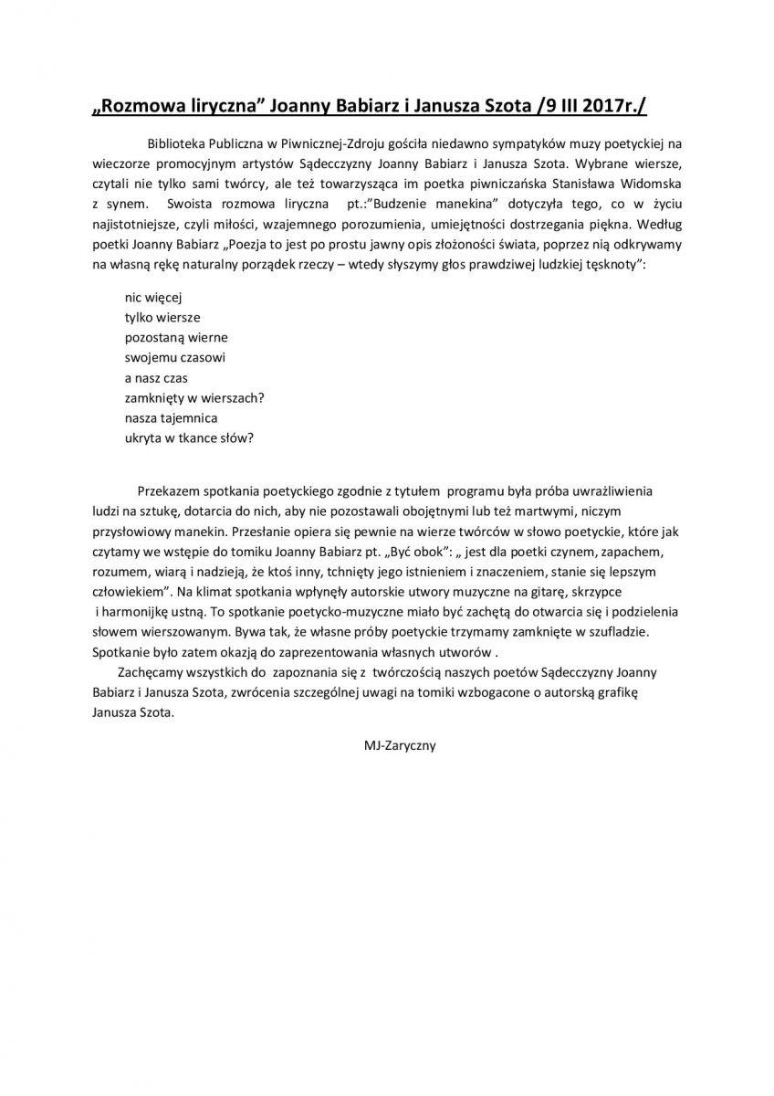 Rozmowa Liryczna Joanny Babiarz I Janusza Szota
